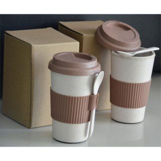 แก้วน้ำฟางข้าวสาลี Eco Wheat Glass, แก้วกาแฟพร้อมช้อน,แก้วกาแฟ